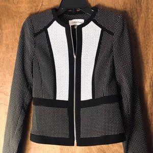 Calvin Klein Blazer Size 4 Petite Black/white